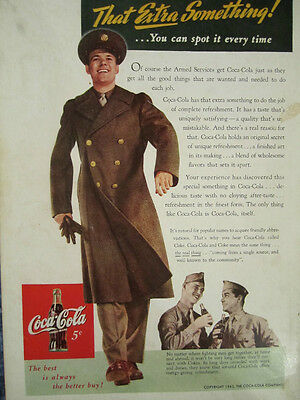 "Vintage Coca Cola 1943 WWII Ad Store Sign ""YOUNG SOLDIER IN UNIFORM"""