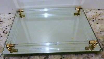 """Avon MIRRORED VANITY TRAY 1986-Footed 8"""" x 11"""""""