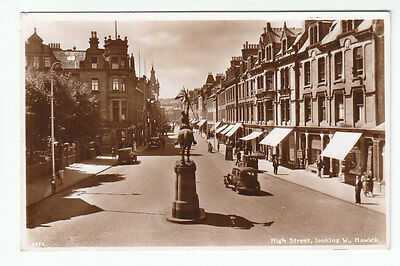 High Street Looking West Hawick Roxburgh c1920's Real Photograph Edwards Selkirk