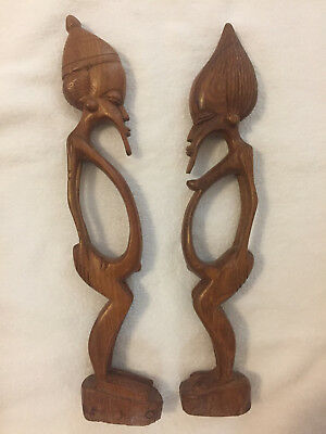 African Hand Carved Wood Fertility Statues Man and Woman