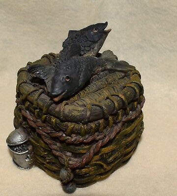 Estate Fishing Nautical Decor  Small Trinket Box with Fish on Top  LOOK