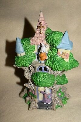 Estate Easter Decor Ceramic Tree House Church House with Bunnies in Windows LOOK