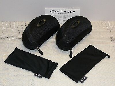 2 Authentic Oakley Flak Jacket Vault Hard Cover Storage Case, 2 Microfiber Pouch