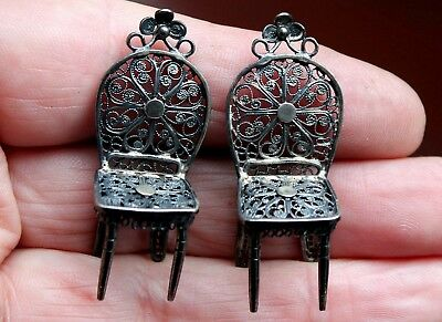 2 Beautiful Old Antique Sterling Silver Miniature Doll House Chairs