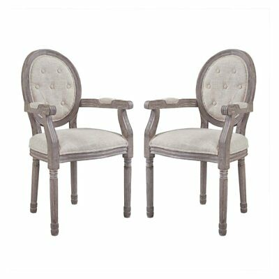 Modway Arise Vintage French Upholstered Fabric Dining Arm Chair - Set of 2,