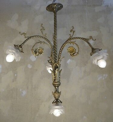 zarte antike Jugendstil Lampe 4 flammig Messing