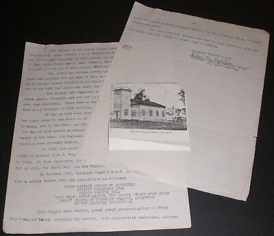 Oriskany Chapter DAR Letter about History First Baptist Church of Deerfield NY