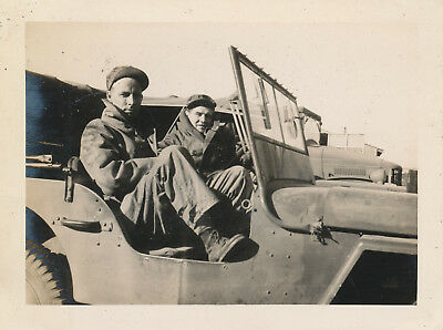 WWII 1940s US Army soldier's training Photo two GI's in  Jeep