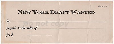 New York Draft Wanted Vintage Money Request Document