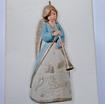 Musical Messenger Hallmark Ornament Angel with Long Horn Dated 2010 Free Ship