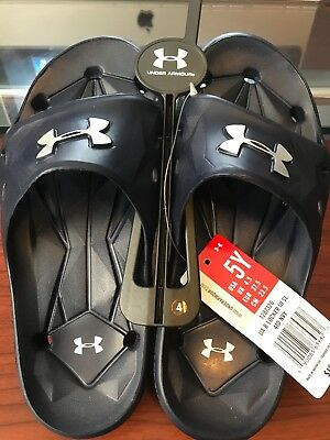 NEW Under Armor Youth Boy/'s Locker III Black Slides #1287326-001 J6C m
