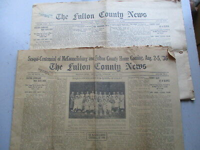 The Fulton County (McConnellsburg PA) News - TWO Issues - 1933 & 1936