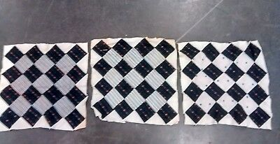 """Three Vintage Antique Hand Made Quilt Square Summer Weight Lancaster Co. PA ~16"""""""