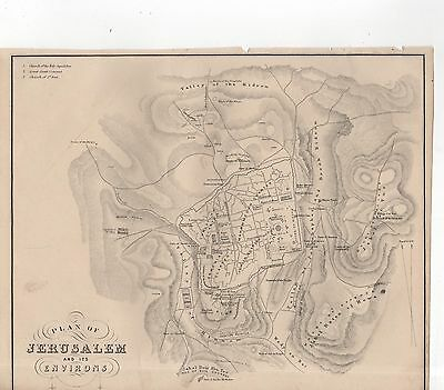 ILLUSTRATED STEEL-ENGRAVED MAP or PLAN OF JERUSALEM AND ITS ENVIRONS (1870)