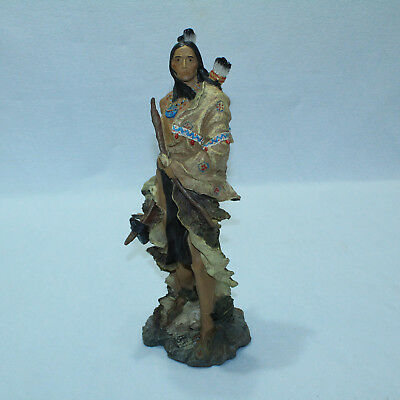 GORGEOUS Native American Brave WARRIOR STATUE Sculpture Resin Porcelain 16½ TALL