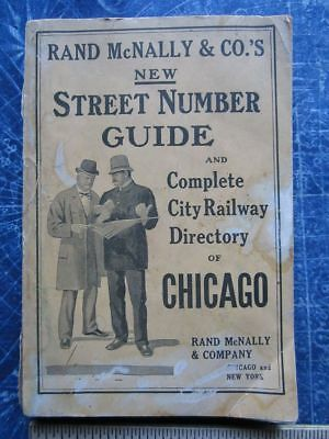 Chicago IL Rand McNally 1910 Street Number Guide & City Railway Directory hj4647