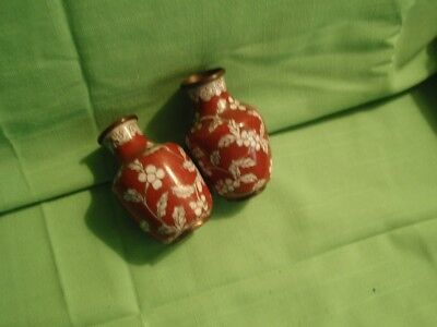 Vintage Antique  Cloisonne Small Vases Brown And White