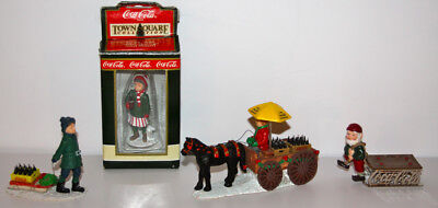 Vintage 1990's COCA-COLA Town Square Collection Christmas Coke Lot 4 Figurines