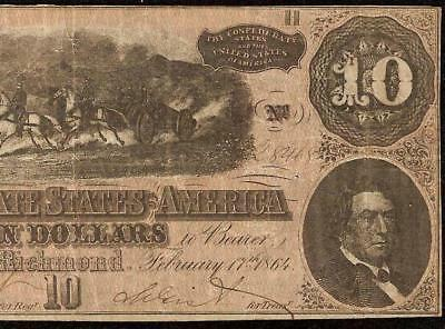 1864 $10 Dollar Bill Confederate States Currency Civil War Note Paper Money T-68