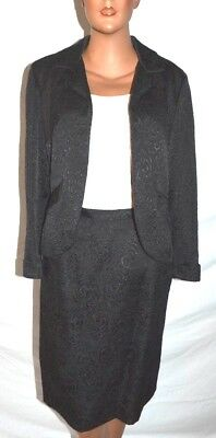 MR Z San Francisco VTG 50s 60 Black Silk Brocade 2 pc skirt Jacket Dress Set - S