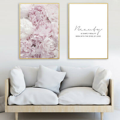 Romantic Flower Feather Letters Wall Painting Picture Poster Art Decor Fashion
