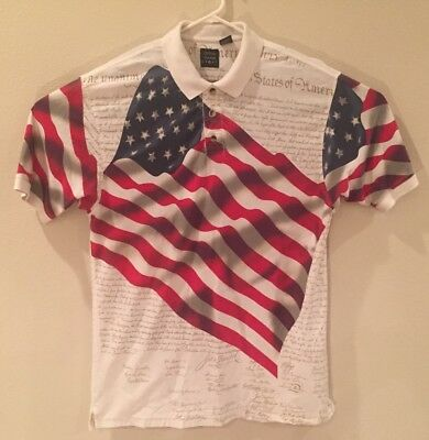 ad89fd3b Cotton Traders Sport Men's Polo Shirt American Flag US Constitution Size XL