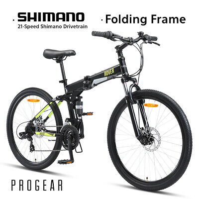 "New PROGEAR 26"" ROVER Folding Mountain Bike MTB Dual Suspension Shimano 21-Speed"