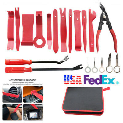 Portable 19Pc Red Car Upholstery Fastener Trim Panel Removal Tool Clip Plier Set