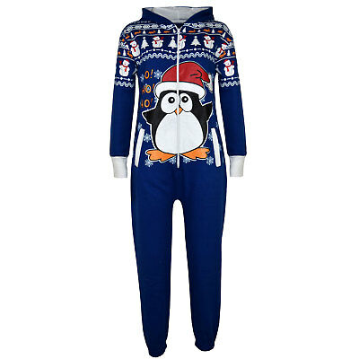 Kids Boys Girls Royal Penguin Christmas Fleece A2Z Onesie One Piece Jumpsuit
