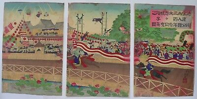 1889 Japanese Original Antique Old Woodblock Print Triptych Of Horse Riding
