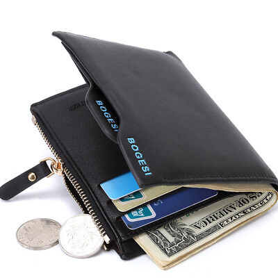 New Men Faux Leather ID Credit Card Holder Bifold Purse With Zipper Coin Wallet