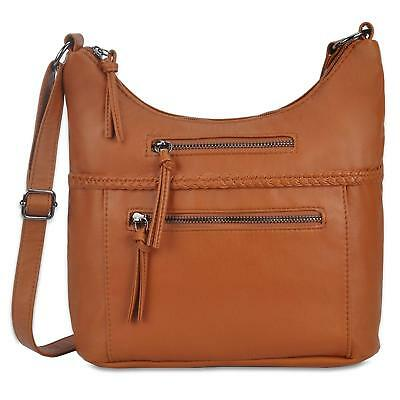 Fashion Women Casual Soft Washed Shoulder Bag Purse Brown Crossbody Bags