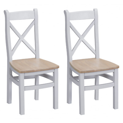 Tenby Grey Painted Furniture Cross Back Dining Chairs with Wooden Seat PAIR