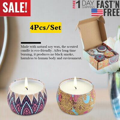 4pcs/Set Eco-Friendly Natural Soy Wax Portable Travel Tin Scented Candle Sleep