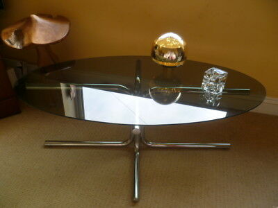 Vintage 1960/70s Mid Century Mod Space Age Chrome Smoked Glass OVAL Coffee Table