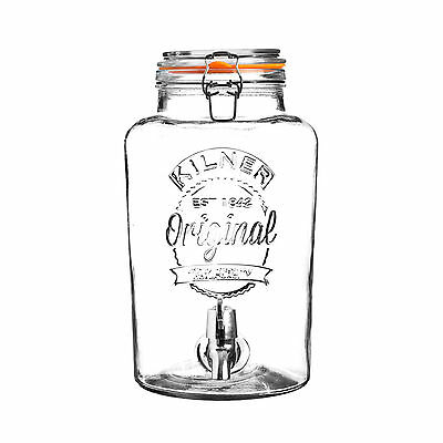 2 x Kilner 5 Litre Glass Drinks Dispenser With Tap Wine Cocktail Juice Party NEW