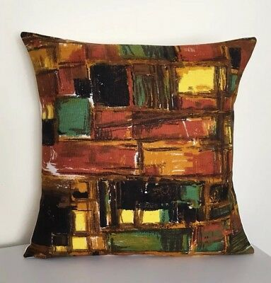 Handmade Cushion Cover: Vintage Mid Century Abstract Fabric (Brown/Yellow) 16""