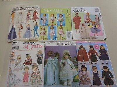 6 Assorted  Doll Clothes Sewing Patterns