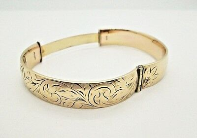 Fine Vintage 9ct Gold Bronze Core Hinged Engraved Oval Bangle c1960's- 22.3g