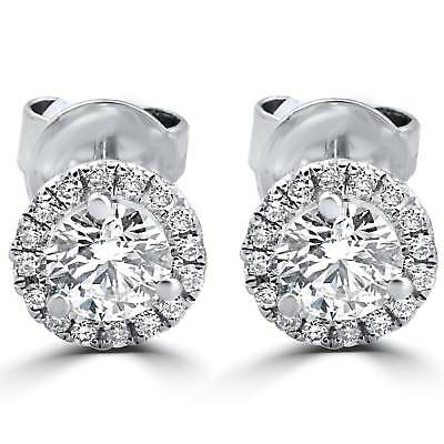 F VS 1/2ct Round Diamond Halo Studs 18K White Gold