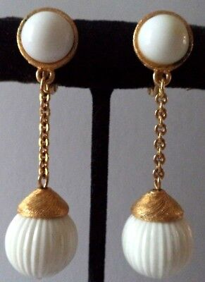 "Stunning Vintage Estate Signed Monet White Dangle 2"" Clip Earrings!!! 1730Z"