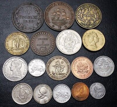 Lot of 17x World Coins Tunisia, Seychelles inc South Africa 1933 Silver Shilling