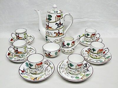 Espresso Set Crown Staffordshire Hunting Scene 6 Demitasse Coffee Pot Sugar & Cr