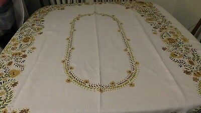 Vintage 50X66 Linen Floral Tablecloth Fall Shades Repair Cutter