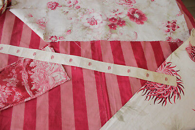Vintage French fabrics antique material PROJECT BUNDLE pink floral ticking linen