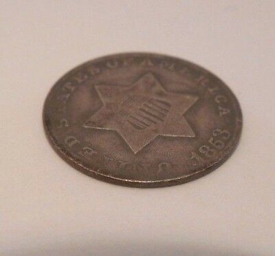 1853 - Three Cents - Silver - 3¢ - #1H