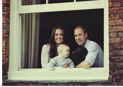 The Cambridges with George & Lupo looking out palace window