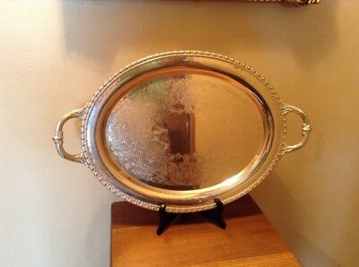 "Rogers Bros Vintage Silverplate 17"" X 13 1/4"" Serving Butlers handled Tray"