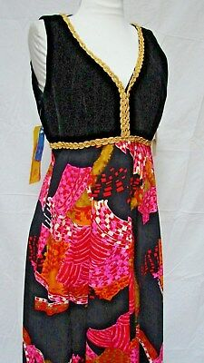 NOS 1960s 70s VINTAGE BRIGHT SWEEPING HOLIDAY HOSTESS DRESS