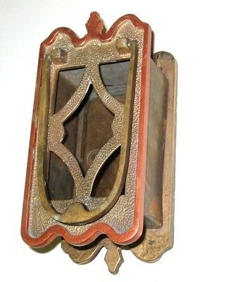 Antique OLD Vintage Heavy Brass Front Door Viewer & Knocker Ornate Castle Style